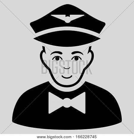 Airline Steward vector icon. Flat black symbol. Pictogram is isolated on a light gray background. Designed for web and software interfaces.