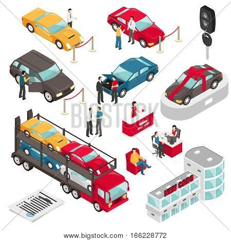 Car dealer luxury vehicles sale lease showroom isometric icons collection with auto trader and customers isolated vector illustration