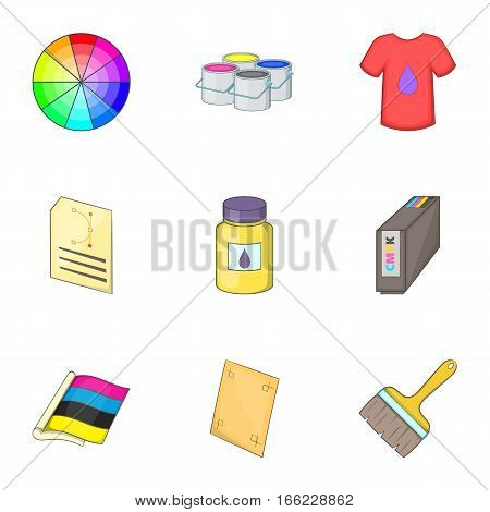 Printing office icons set. Cartoon illustration of 9 printing office vector icons for web
