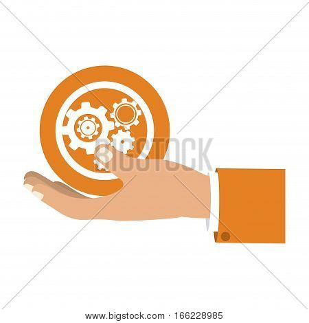 colorful silhouette with left hand hold round pinions vector illustration