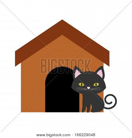 cat nose funny animal brown house vector illustration eps 10