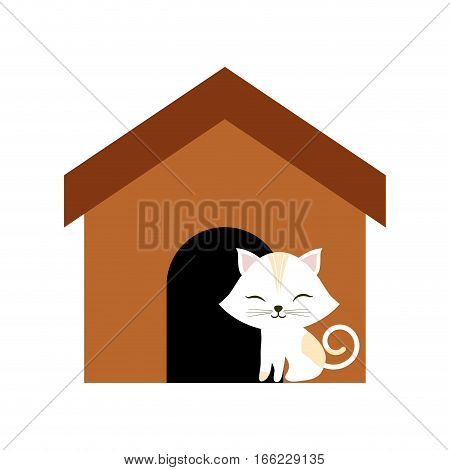 cat clossed eyes feline brown house vector illustration eps 10