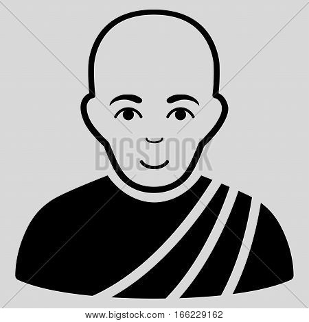 Buddhist Monk vector icon. Flat black symbol. Pictogram is isolated on a light gray background. Designed for web and software interfaces.