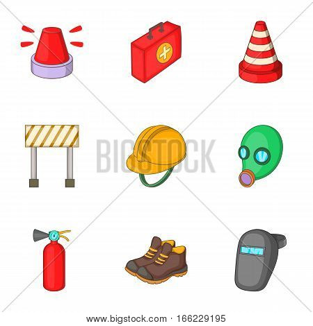 Road construction icons set. Cartoon illustration of 9 road construction vector icons for web