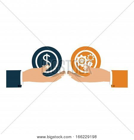 colorful silhouette with hands hold round pinions and money symbol vector illustration