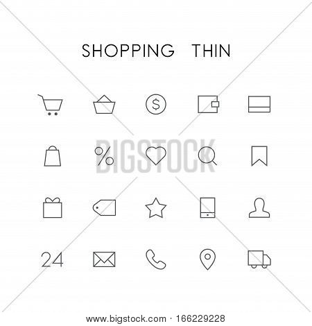 Shopping thin icon set - cart, basket, money, wallet, credit card, heart, search, favorites, gift, price, phone, mail, car and others simple vector symbols. Internet store and shop signs.