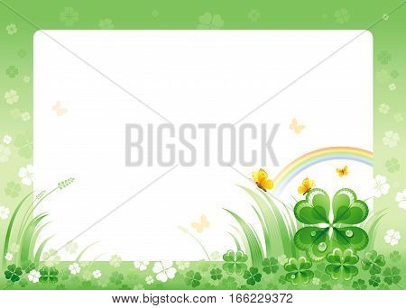 Happy Saint Patrick day border corner, isolated white background. Irish shamrock clover leaves frame, rainbow, green grass, copyspace. Traditional for Northern Ireland celtic holiday. Template poster.