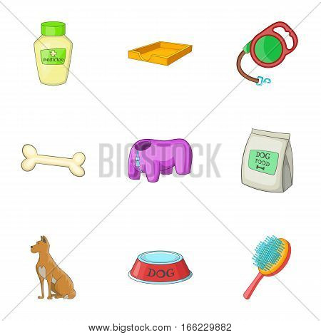 Caring for a dog icons set. Cartoon illustration of 9 caring for a dog vector icons for web