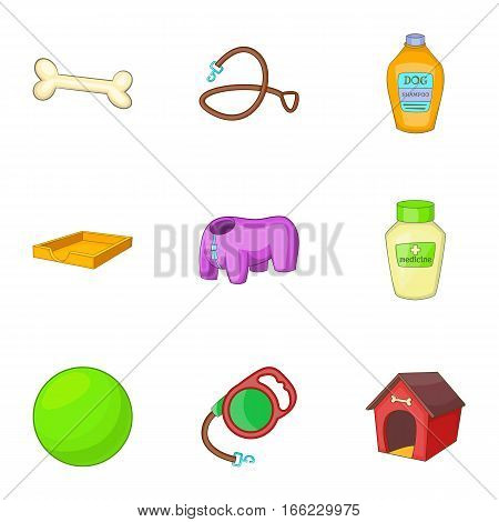 Veterinary and grooming icons set. Cartoon illustration of 9 veterinary and grooming vector icons for web