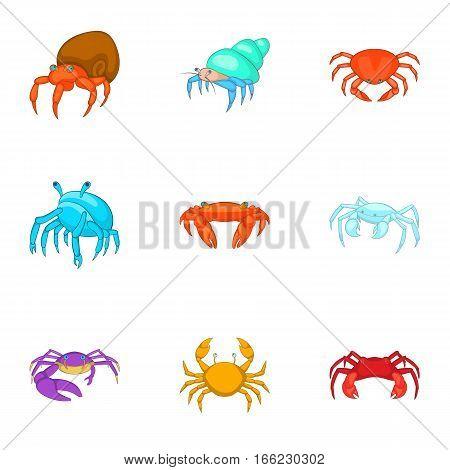 Marine life icons set. Cartoon illustration of 9 marine life vector icons for web