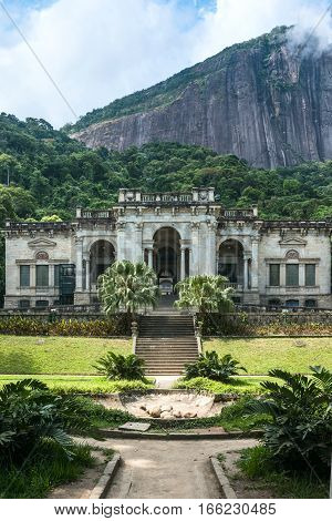 Rio De Janeiro, Brazil - January 3, 2017: Italian Architecture Style Mansion In Parque Lage. It Is N