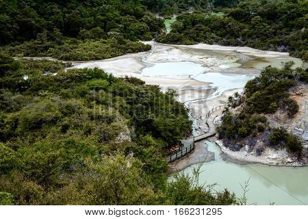 Landscape View Of Geothermal Field At Wai O Tapu Near Rotorua, New Zealand