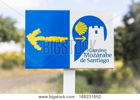way of Saint James signpost in the countryside - Camino Mozárabe de Santiago