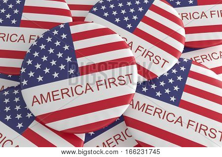 US Politics Badges: Pile of America First Slogan Buttons 3d illustration