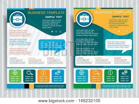 Briefcase Symbol On Vector Brochure Flyer Design Layout Template.