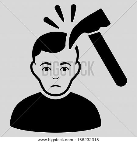 Murder With Hammer vector icon. Flat black symbol. Pictogram is isolated on a light gray background. Designed for web and software interfaces.