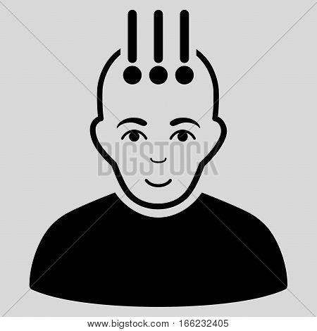 Neural Interface vector icon. Flat black symbol. Pictogram is isolated on a light gray background. Designed for web and software interfaces.