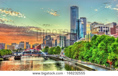 Sunset over the Yarra River in Melbourne - Australia, Victoria
