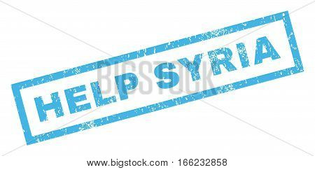 Help Syria text rubber seal stamp watermark. Caption inside rectangular shape with grunge design and unclean texture. Inclined vector blue ink sticker on a white background.