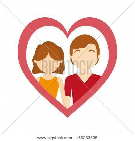 couple love frame heart affection vector illustration eps 10