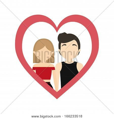 couple love frame heart passion lifestyle vector illustration eps 10