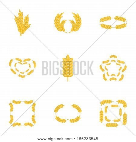Wheat ear icons set. Cartoon illustration of 9 wheat ear vector icons for web