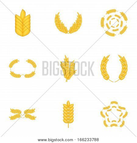 Wheat, rye or barley icons set. Cartoon illustration of 9 wheat, rye or barley vector icons for web