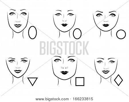 Set Of Six Human Face Types