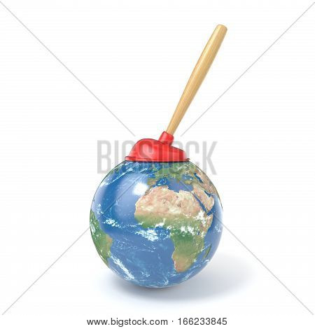 Red kitchen plunger on planet Earth 3D render illustration isolated on white background.