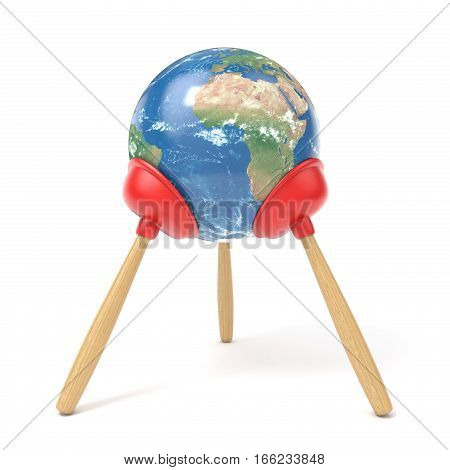 Planet Earth stand on three red kitchen plunger 3D render illustration isolated on white background.