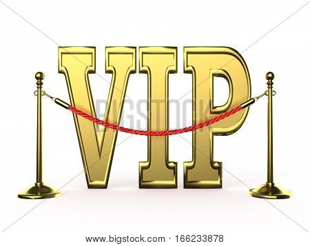 Velvet rope barrier with golden VIP sign. 3D render illustration isolated on white background