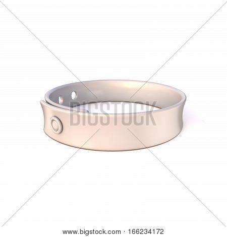 White rubber bracelet. 3D render illustration isolated on white background