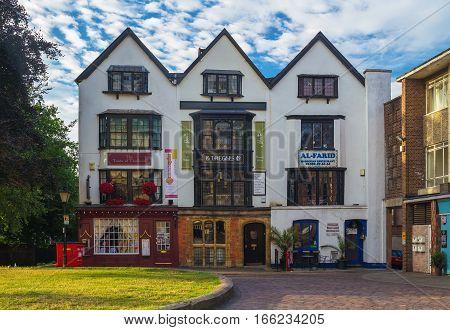 EXETER Devon UK 20 July 2016: Three Gables House 1540.