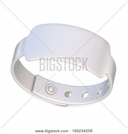 White rubber bracelet closed. 3D render illustration isolated on white background