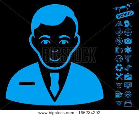 Businessman icon with bonus aircopter service clip art. Vector illustration style is flat iconic blue symbols on black background.