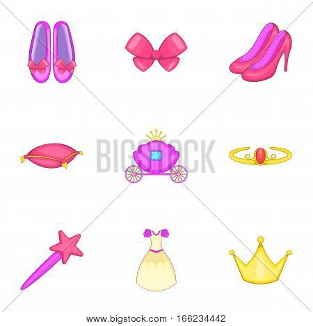 Princess elements icons set. Cartoon illustration of 9 princess elements vector icons for web
