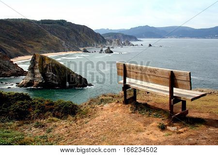 the best bank of the world, Landscape of Loiba, A Coruña, cliffs of Galicia, Spain, where this bank is located with one of the best panoramic views of the most beautiful landscapes.