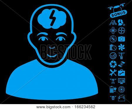 Clever Boy pictograph with bonus copter tools pictograph collection. Vector illustration style is flat iconic blue symbols on black background.