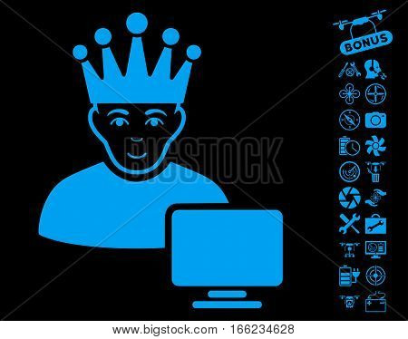 Computer Moderator icon with bonus nanocopter service clip art. Vector illustration style is flat iconic blue symbols on black background.