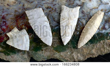 Paleo midwestern arrowheads made 7000 to 8000 years ago found near Pettis Missouri.