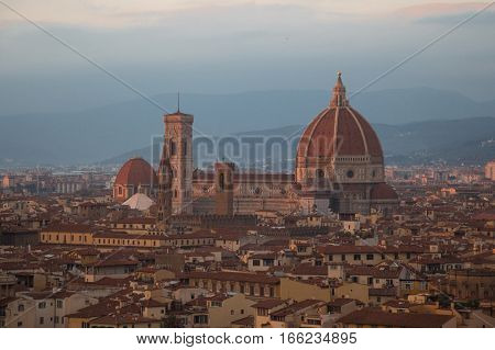 Italy Florence - November 01 2016: view of Florence Cathedral at sunset light on November 01 2016 in Florence Italy.