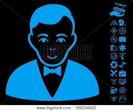 Dealer pictograph with bonus drone service images. Vector illustration style is flat iconic blue symbols on black background.