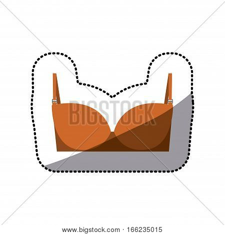 dotted sticker of orange balconette brassier vector illustration