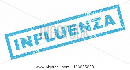 Influenza text rubber seal stamp watermark. Caption inside rectangular shape with grunge design and dust texture. Inclined vector blue ink emblem on a white background.