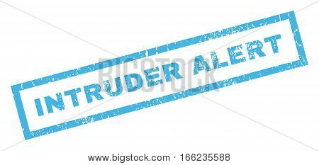 Intruder Alert text rubber seal stamp watermark. Tag inside rectangular shape with grunge design and scratched texture. Inclined vector blue ink sticker on a white background.