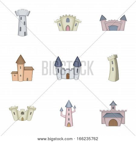 Knights, royal, princess castle icons set. Cartoon illustration of 9 knights, royal, princess castle vector icons for web