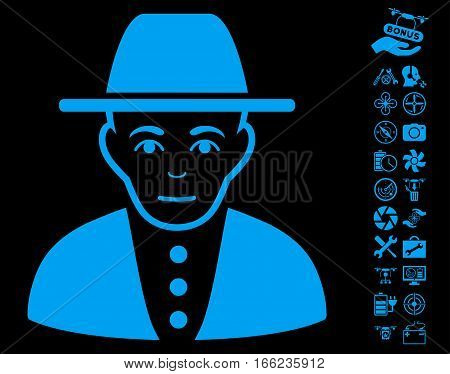 Jew icon with bonus uav tools design elements. Vector illustration style is flat iconic blue symbols on black background.