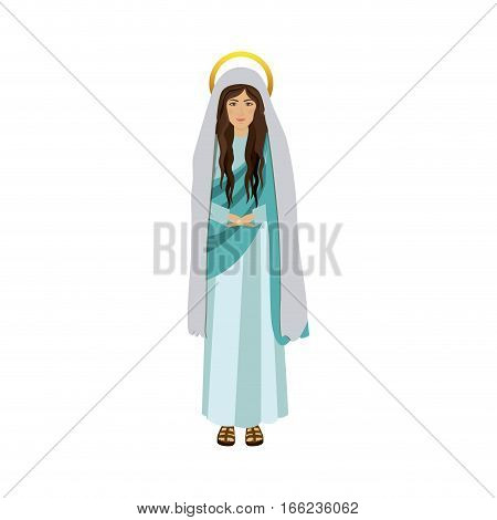 colorful figure human of saint virgin maria vector illustration