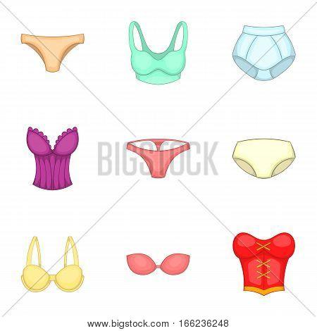 Lingerie elements icons set. Cartoon illustration of 9 lingerie elements vector icons for web