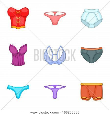 Underwear clothes icons set. Cartoon illustration of 9 underwear clothes vector icons for web